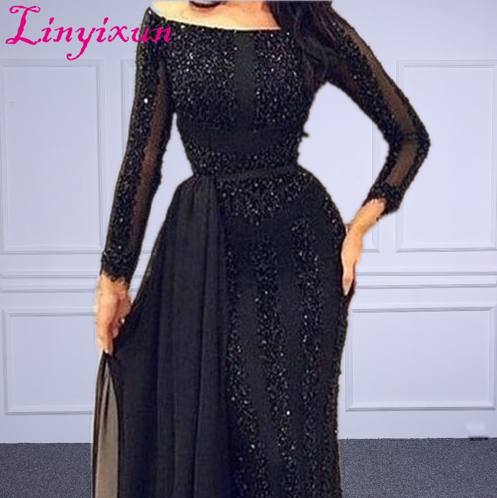 Wholesale Arabic Muslim Evening Dress Long sleeve Beading Black Formal Prom Dress Custom Made Evening Party