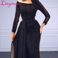 Оптовая Продажа Арабский мусульманский вечернее платье с длинным рукавом Бисер Черное вечернее платье для выпускного вечера индивидуальн