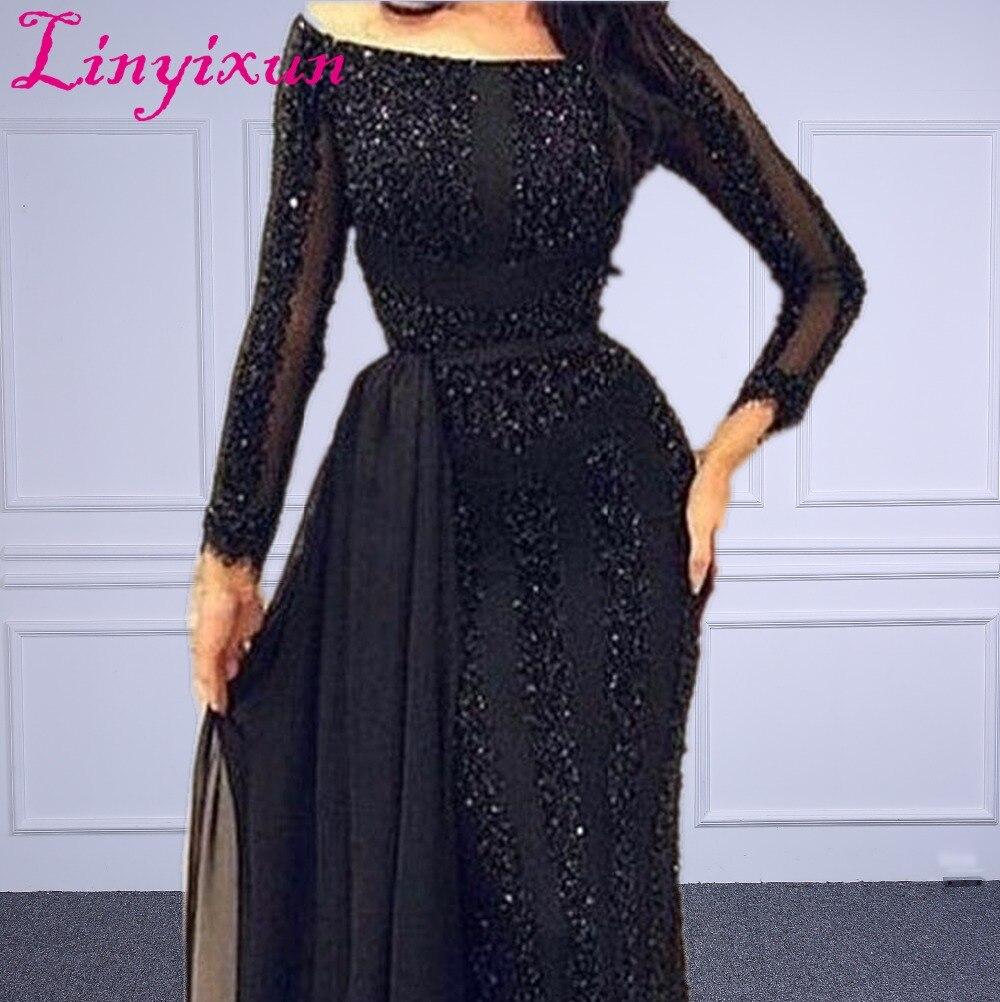 Wholesale Arabic Muslim Evening Dress Long sleeve Beading Black Formal Prom Dress Custom Made Evening Party Gown