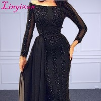 Wholesale Arabic Muslim Evening Dress Long sleeve Beading Black Formal Prom Dress Custom Made Evening Party Gown