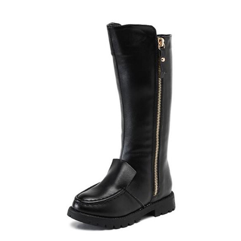 New Autumn Winter Fashion Knee-High Boots Children Girls Genuine Leather Boots Princess Shoes Warm Kids Snow Boots Martin 02A