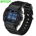 Sanda marca hombres resplandor relojes deportivos 30 m impermeable led digital reloj deportivo militar de choque los hombres de lujo de cuarzo analógico digital reloj