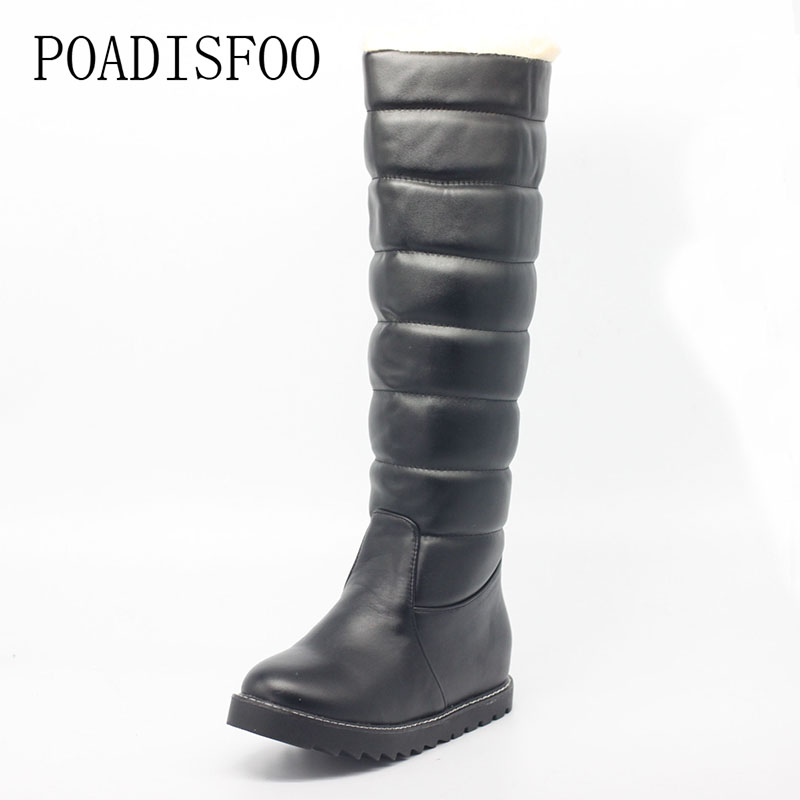 POADISFOO  women Boots Flat heel Round Toe Knee high boots PU boots snow warm boots Big size women's shoes l.XJY-10100 miracle cure