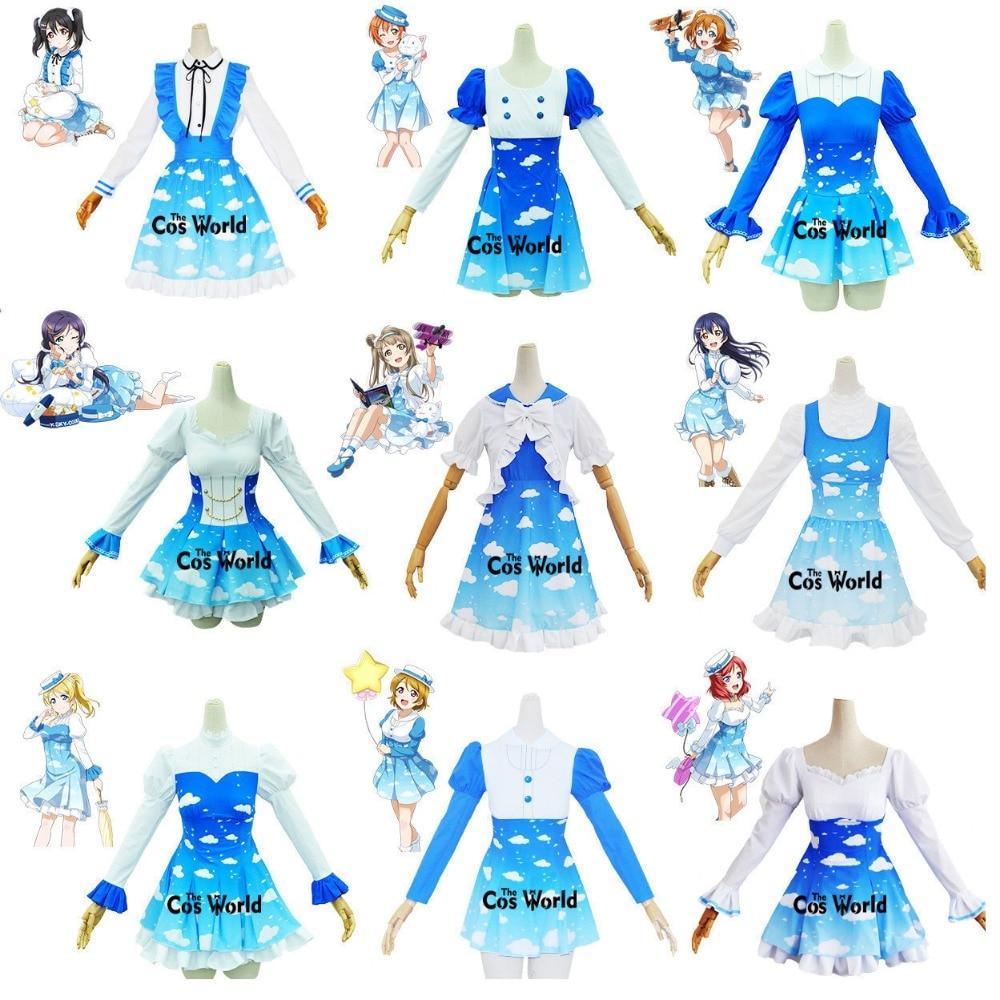 Love Live Honoka Kotori Umi Eli Nozomi Maki Rin Hanayo Nico Sky Lolita Dress Uniform Outfit Cosplay Costumes