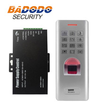 IP66 Outdoor WG26 Fingerprint password keypad access control reader with 12V 5A power supply fo door lock gate opener use