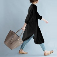 Celmia Fashion Long Blouse Full Sleeve Stand Collar Button Open Front Blouse Baggy Loose Split High