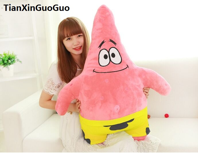 stuffed fillings plush toy large 80cm cartoon Patrick Star plush toy doll soft throw pillow birthday gift b0935 new arrival toy huge 120cm cartoon fat hippo plush toy blue hippo doll soft pillow christmas gift w2532