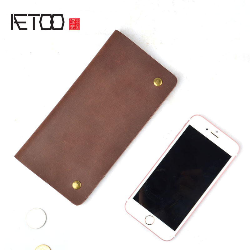 AETOO Split Leather Wallet Men Phone Original Long Section Of The Second Layer Of Crazy Horse  Retro Simple Wallet