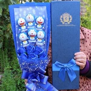 Fashion Lovely Doraemon vinyl dolls action figure toy+fake roses Cartoon Flower Bouquet Creative Valentine's Day Christmas gifts