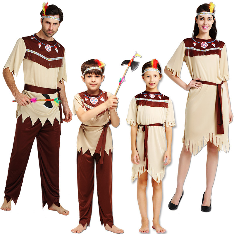 Adult kid boy girl Women African Original Indian Savage Costume Wild Man Halloween party Cosplay Carnival Fancy Dress children