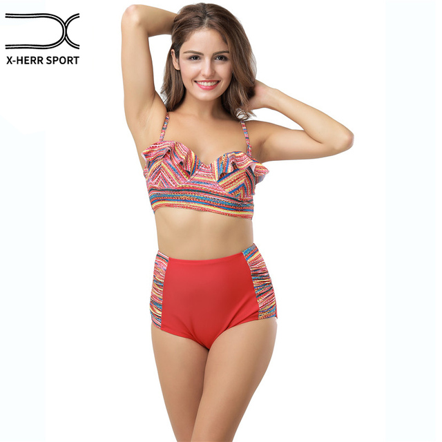 6188c3fa7d X-HERR Womens Falbala High Waisted Bikini Set Halter Top Red Floral Two  Piece Swimsuit Ruffle Bandeau Swimwear with Underwire