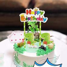 Happy Birthday Dinosaur Party Cupcake Toppers Cartoon Cake Decorating Insert Card Pick Decorations Boy