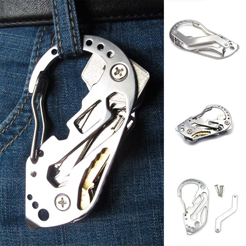 EDC Multifunction Keychain Survival Outdoor Tactical Pocket Tool Stainless Steel Carabiner Clip Tool Bottle Opener Wrench Screw