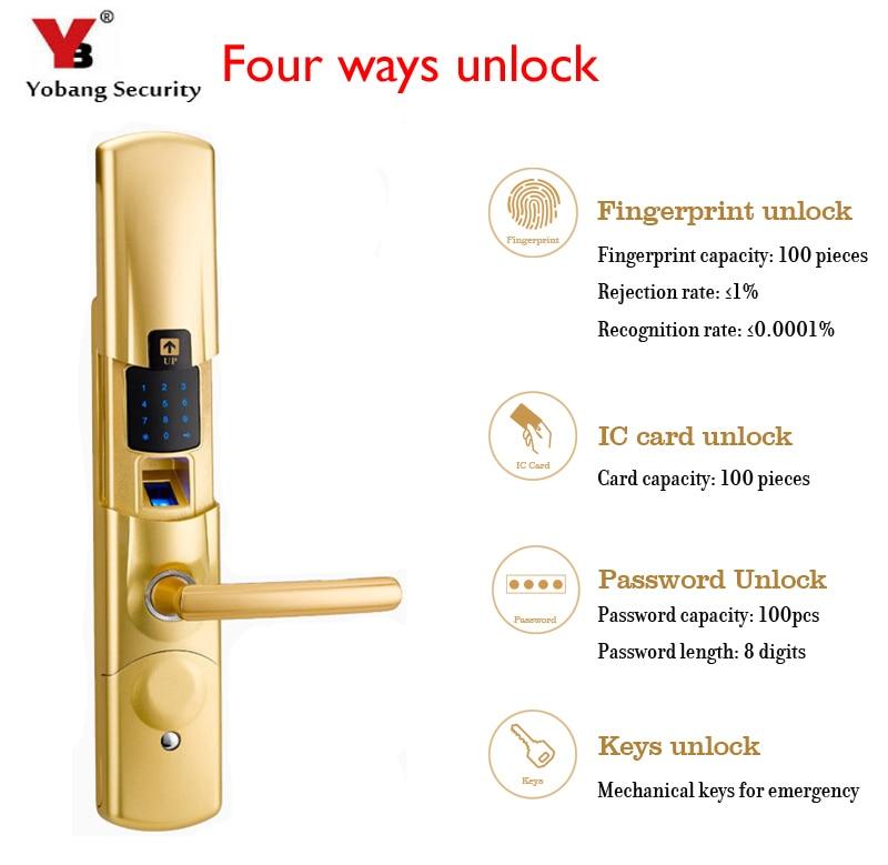 YobangSecurity Intelligent Fingerprint Electronic Door Lock Smart Digital Touch Screen Keypad+Password+IC Card+Mechanical Key цена
