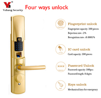 YobangSecurity Intelligent Fingerprint Electronic Door Lock Smart Digital Touch Screen Keypad+Password+IC Card+Mechanical Key