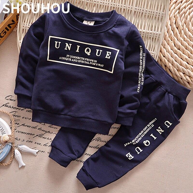 SHOUHOU 2017 Children Clothing Set Autumn Long Sleeve Letter Print 2pcs Suit Boys Girls Sweaters+Pants Cotton Clothes set