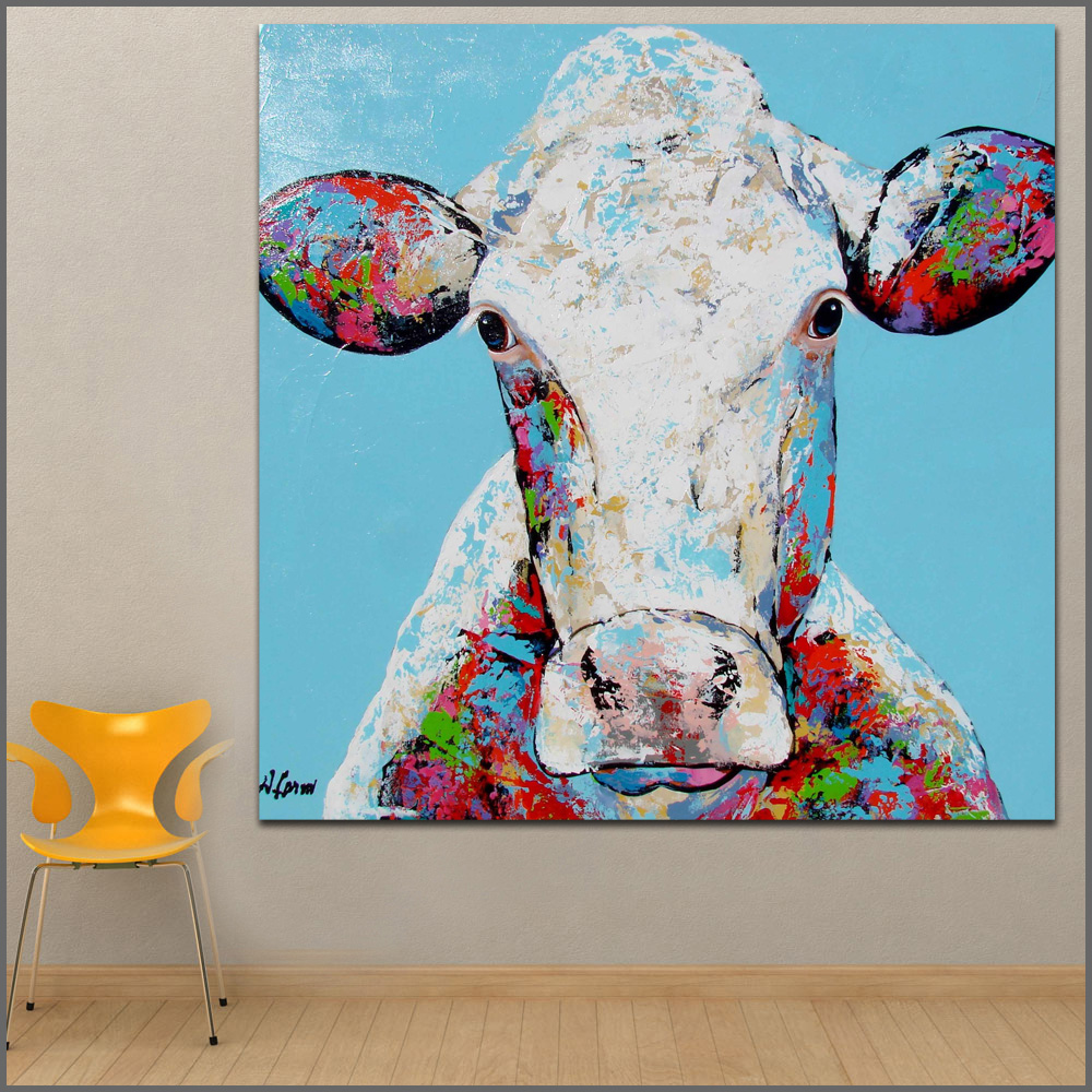 Us 6 5 48 Off Wall Art Painting Modern Colorful Animal Oil Painting On Canvas Vivid Colors Animal Cow 2 Oil Painting No Frames Wlong In Painting