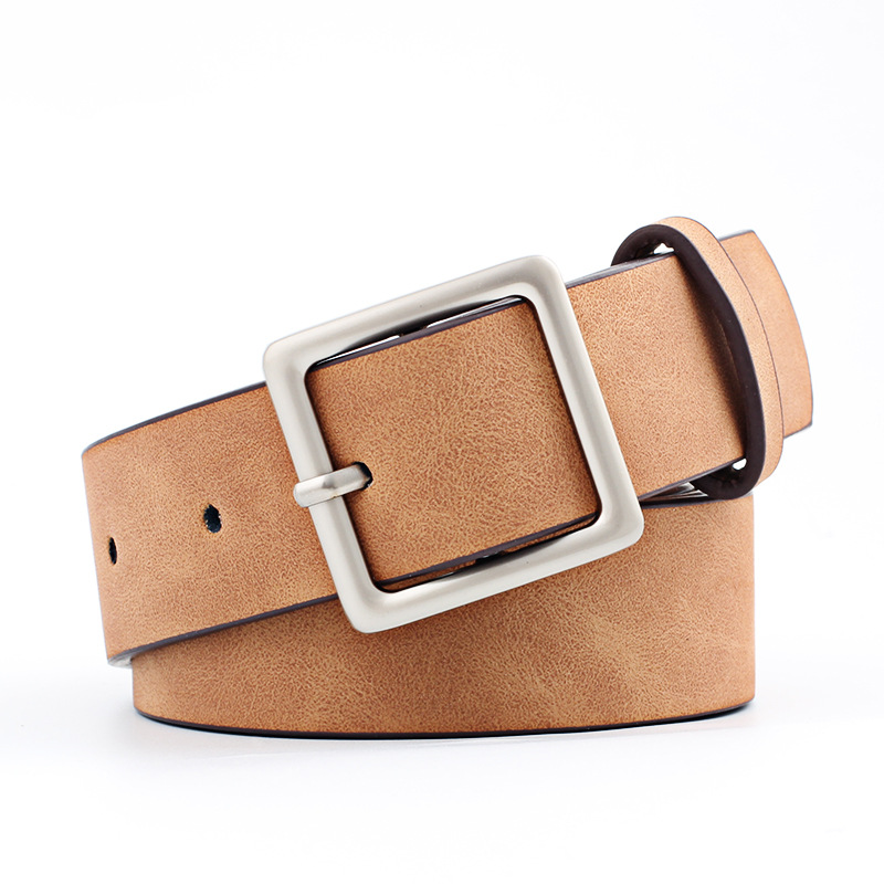 Winfox Vintage Brown Black White Wide PU Leather Belt Square Alloy Pin Buckle Adjustable Waist Belts For Women Ladies