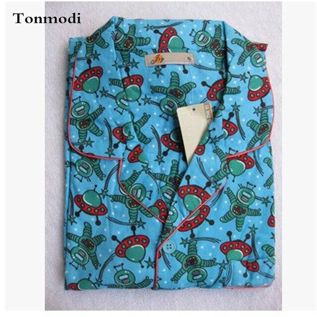 Пижамы Мужчины Осенью И Зимой Пижамы С Длинным рукавом Пижамы Пижамы Хлопка Мужчины Робот Сна гостиная Пижамы Набор
