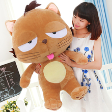 huge 90cm brown cat , cute cartoon cat plush toy soft hugging pillow home decoration toy birthday gift h2899
