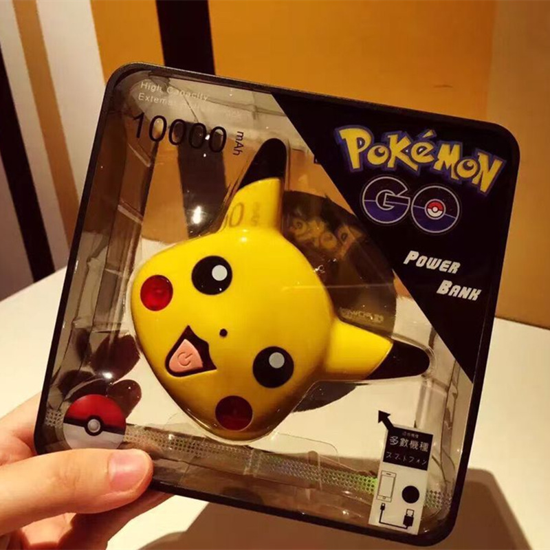 For Pikachue Pokemons Go Power Bank 10000mAh with led External Power bank Portable Battery for all phones