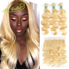 Ali Grace Hair Malaysia Body Wave 613 Blonde Bundles With Frontal 13*4 Ear to Ear Swiss Lace Frontal Remy Human Hair Weaving(China)