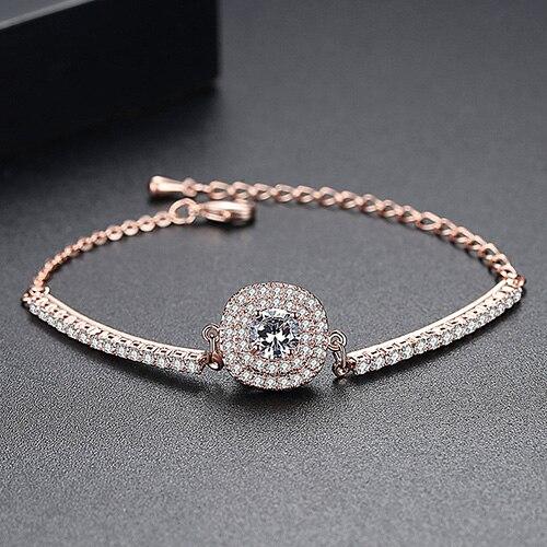 Luoteemi Brand Link Bracelet Сердца и стрелы хрусталя циркон браслет для женщин высокое качество ссылка браслеты оптом - Окраска металла: Покрытие из розового золота