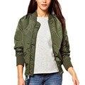 Весна осень женщины базовая пальто мода куртка slim с длинным рукавом молнии femme пальто куртки стенд воротник твердые тонкий вскользь пиджаки