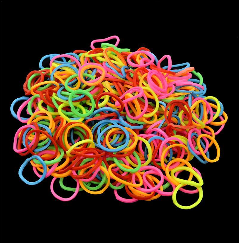 100 шт. красочные резинкой одежда для детей девочек эластичный ободок для волос лента веревочный Плетеный волос Стиль Аксессуары Резиновые резинки для Браслеты