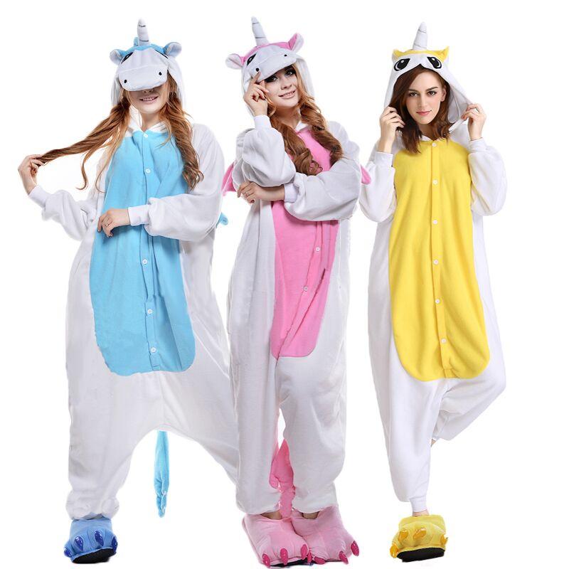 Autumn Winter Unicorn   Pajama     Sets   Cartoon Sleepwear Women   Pajama   Flannel Animal   Pajama   Unicorn Halloween onesie Home clothing