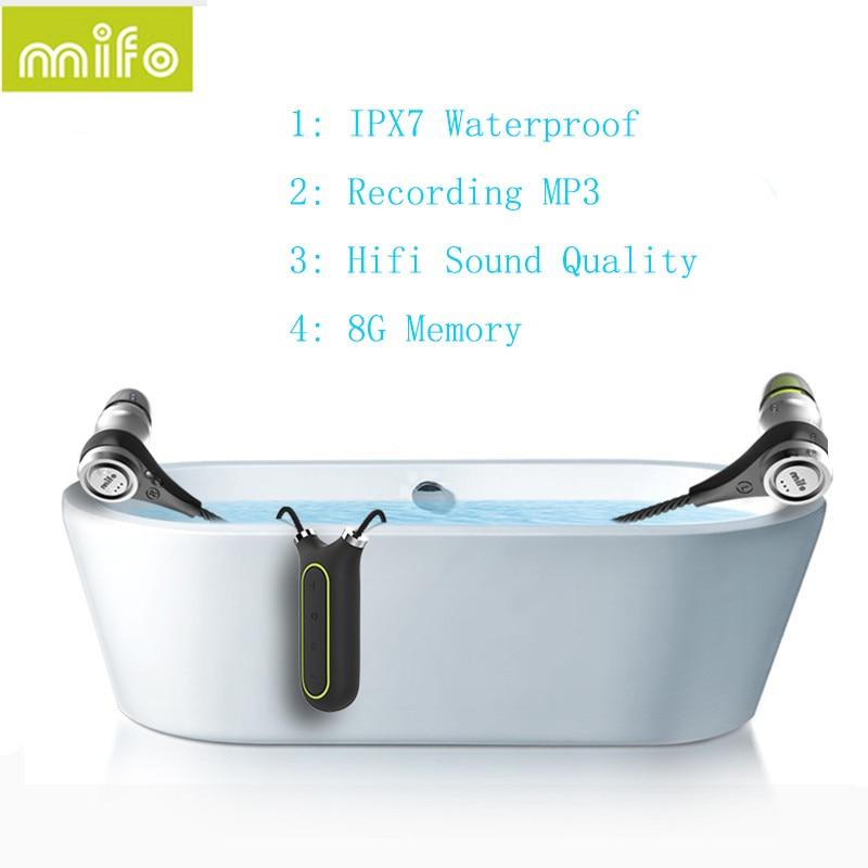 Newest Mifo I2 Bluetooth 4.1 Headset 8GB Recording MP3 Player Earphone IPX7 Waterproof Wireless Necklace Headphones HIfi Stereo ks 509 mp3 player stereo headset headphones w tf card slot fm black