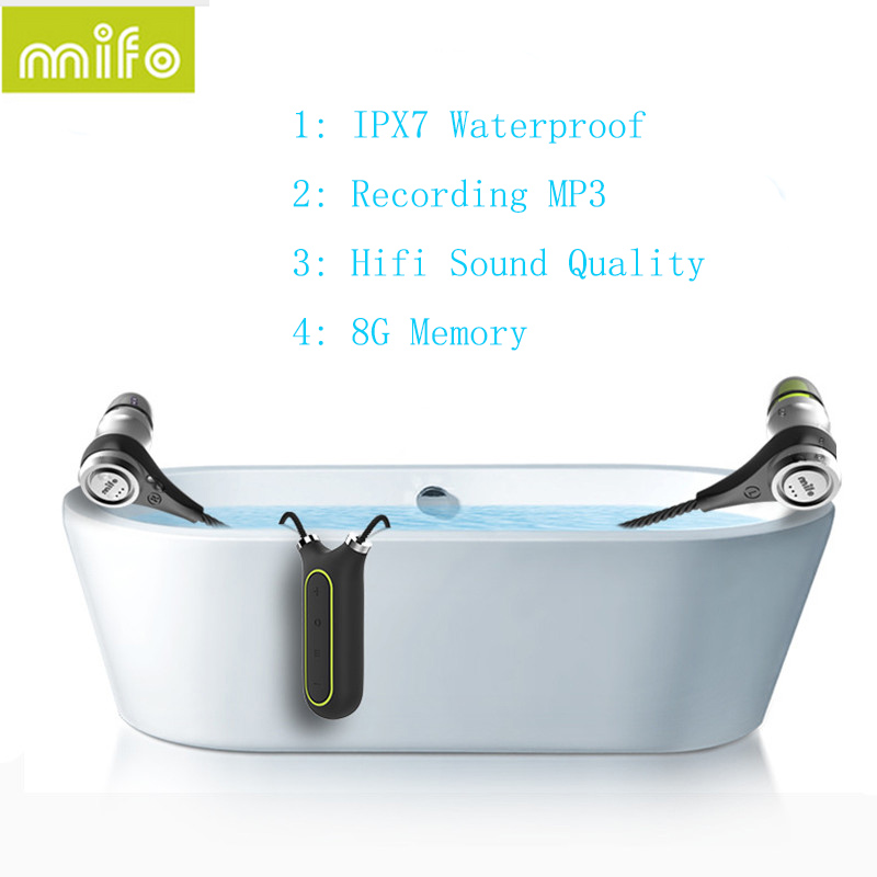 Newest Mifo I2 Bluetooth 4.1 Headset 8GB Recording MP3 Player Earphone IPX7 Waterproof Wireless Necklace Headphones HIfi Stereo