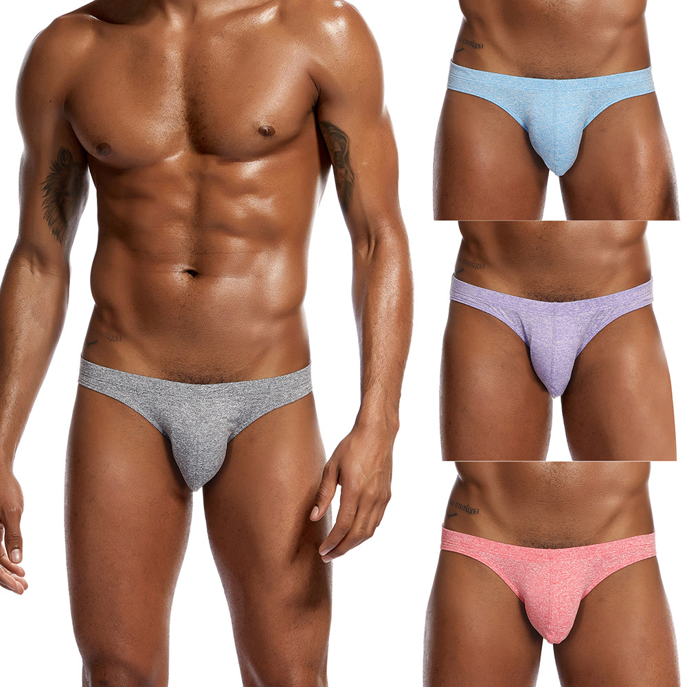 Men Underwear Low Waist Solid Shorts Underpants Soft Briefs Panties Sexy Male Panties Underwear Men 2019 Ropa Interior Hombre(China)