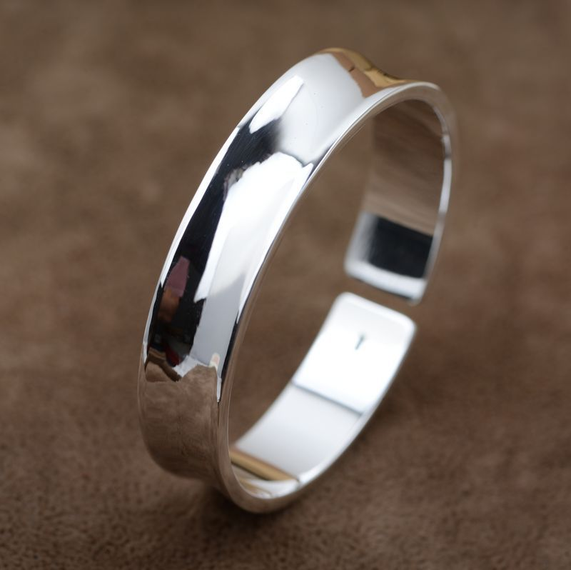 Thousands of fine silver process wholesale female Bracelet Gao Paoguang all-match concave opening process of atmosphere цена