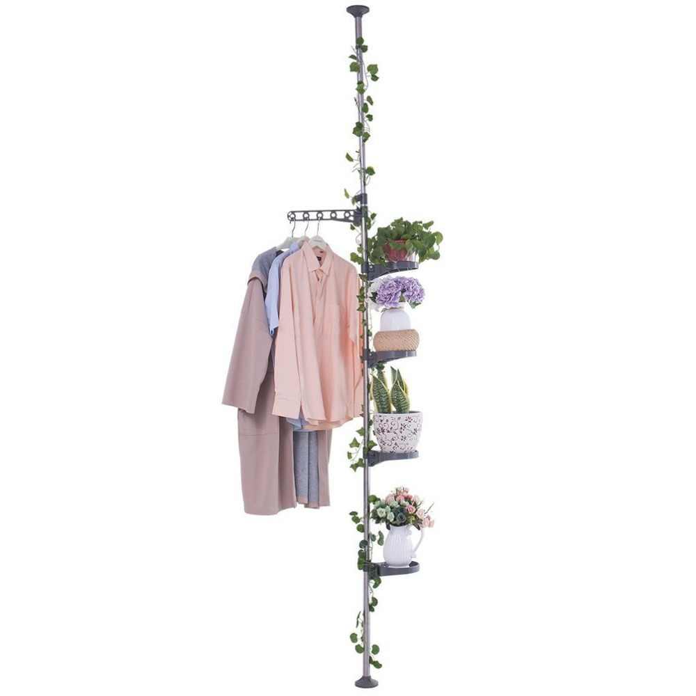 Indoor Pot Plant Stand Holder Tension Pole Storage Rack Flower Display Shelf DQ1607xilie