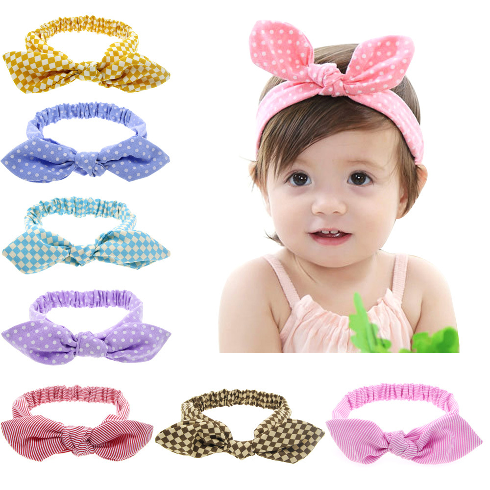 Rabbit Ear Headbands Korea Style Headwear Bow Elastic Knot  Baby Hair Accessories Children Infant Headband Girls Bows Headdress 8 pieces children hair clip headwear cartoon headband korea girl iron head band women child hairpin elastic accessories haar pin