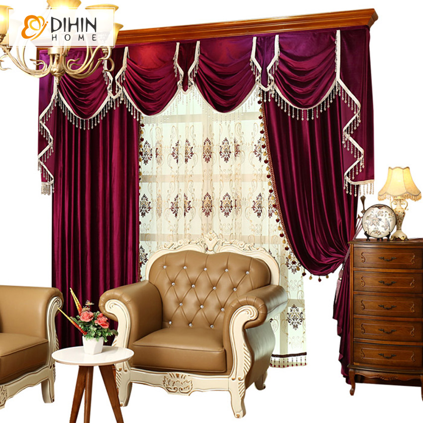 European luxury italian velvet embroidered valance red for Red velvet curtains living room