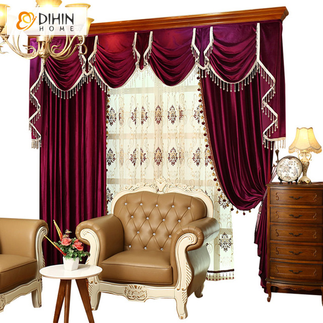 European Luxury Italian Velvet Embroidered Valance Red Drapes Curtain  Customization Cortina Blinds Lace Curtains For Living Part 39