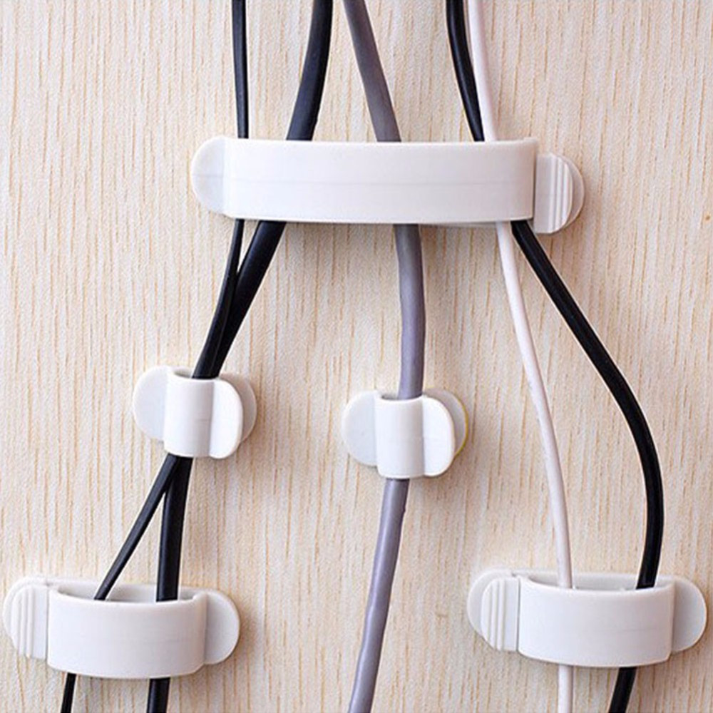 10PCS/Pack Self-adhesive Cable Holder Clip Buckle Cord Plastic Ties Wire Organizer Fastener Cable Management Storage Collector