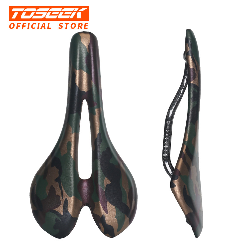 TOSEEK Bicycle Carbon Fiber Saddle Road Bike Lightweight Seat Camouflage green Cushion Bicycle Cycling Parts Bike Hollow Saddle road bike carbon fiber saddle mtb bicycle hollow breathable saddle cycling comfortable cushions mountain bike riding accessories