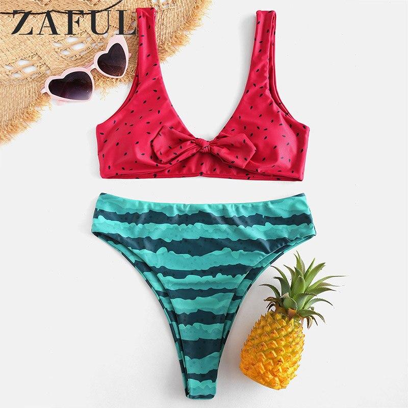 ZAFUL maillots de bain 2019 femmes Bikini fendu maillot de bain imprimé Bikini petit pastèque maillot de bain maillot de bain natation plage porter