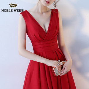 Image 4 - NOBLE WEISS Elegant Satin Red Prom Dresses Long Floor Length Special Occasion Gowns With Sexy V neck Girls vestido de festa