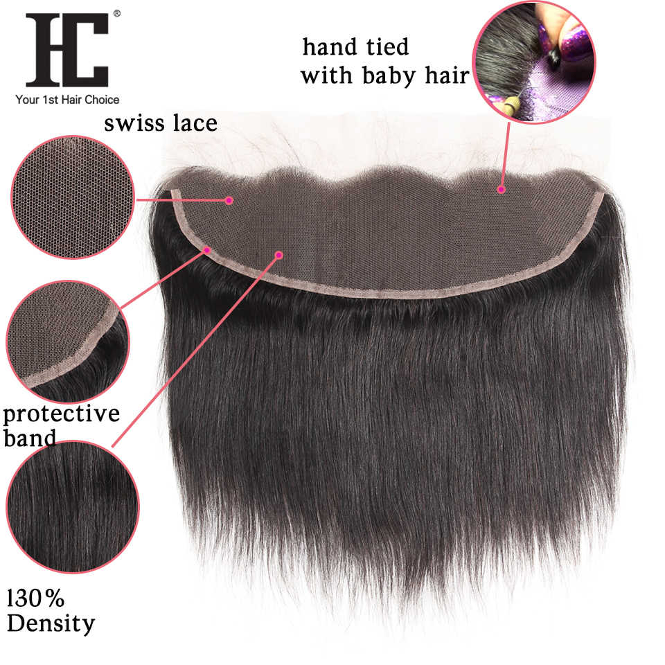HC Malaysian Straight Hair Bundles With Frontal 3 Bundles Human Hair Weave 13x4 Lace Frontal Closure With Bundles 4 Pcs Non Remy