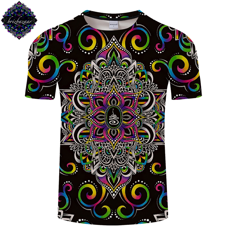Harmony Magic By Brizbazaar Art Men 3D Print T Shirts Flower of Life Tshirt Men Women Brand T Shirt Summer Short Sleeve Drop Shi