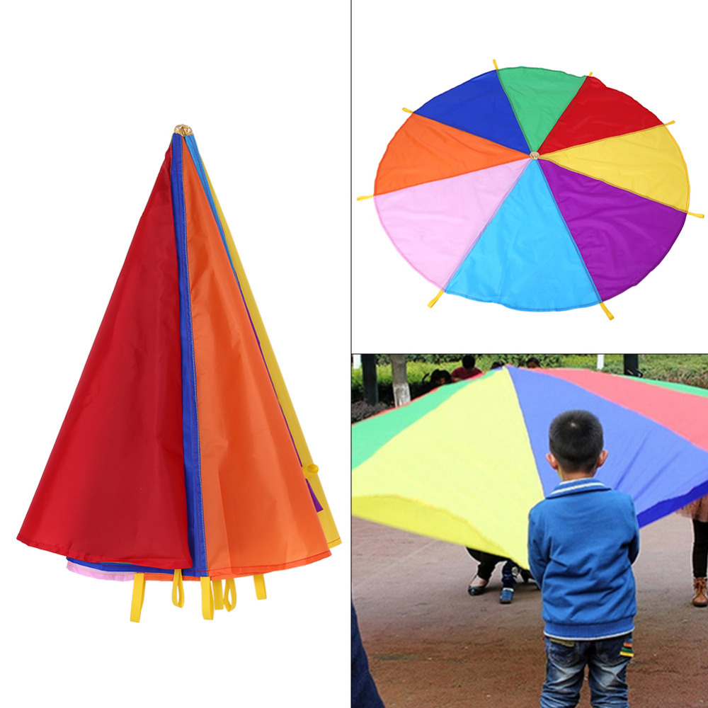 2m Kid Children Play Rainbow Umbrella Parachute Outdoor Teamwork Game Jump-sack Ballut Play Parachute Development Toy 8 Bracelet