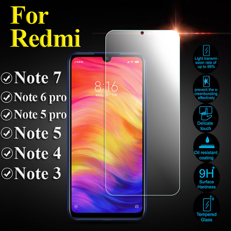 Glass Protective On For Xiaomi Redmi Note 7 6 5 Pro 4 Tempered Glas Note7 Note5 Note4 Ksiomi Xiaomei Xiomi Screen Protector Film