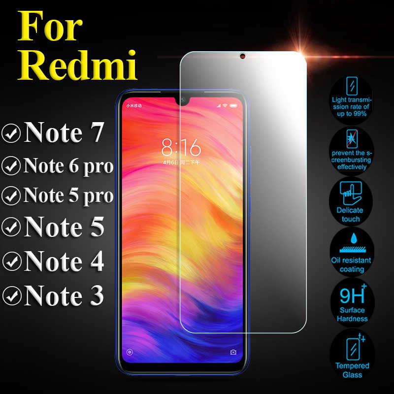 Pelindung Kaca Di untuk Xiaomi Redmi Note 7 6 5 Pro 4 Tempered Glas Note7 Note5 Note4 Ksiomi Xiaomei Xiomi pelindung Layar