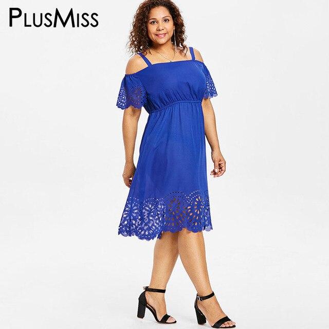 8c86595959 US $26.36  PlusMiss Plus Size 5XL 4XL Off the Shoulder Scallop Midi Dress  Women Big Size Cut Out Loose Dress Black Blue Office Ladies Work-in Dresses  ...