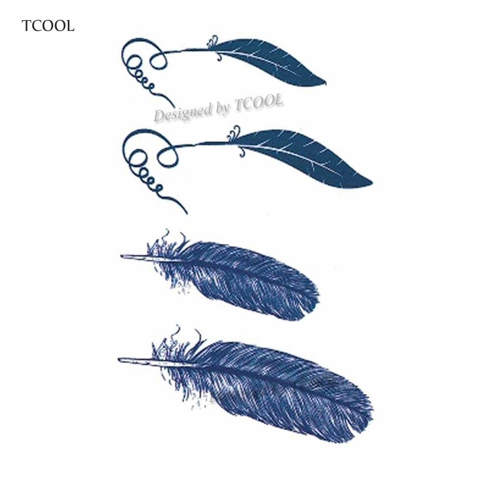 HXMAN Feather Temporary Tattoos Sticker Waterproof Women Men Fashion Fake Arm Body Art 10.5X6cm Kids Hand Tatoo Paper B-011
