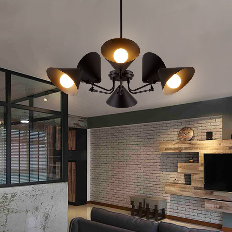 Industrial Dinner LED Chandelier Loft Retro Rotatable Heads Metal Living Room Restaurant Hanging Light Fixtures Free Shipping